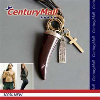 Lady Mens Leather Necklace Wolf Tooth Cross Pendant Choker Genuine
