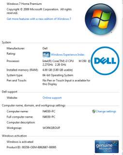 Dell Inspiron laptop N4030 14R Intel Core i3 350M 2.26Ghz Win 7 Retail