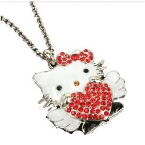 Hello Kitty Red Heart Rhinestone/Crystal Swarovski w/Wings necklace by