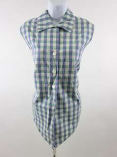 JAEGER Purple Green Plaid Sleeveless Shirt Top Sz 38