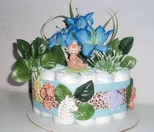 MONKEY JUNGLE SAFARI BABY SHOWER DIAPER CAKE CENTERPIECE HOSPITAL GIFT