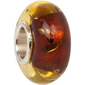 Amber Bead Sterling Silver Core fits European Charm Bracelet Jewelry