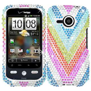 RHINESTONE CASE COVER HTC DROID ERIS RAINBOW BLING FACEPLATE RAINBOW