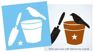 Crow STENCIL Garden Trowel Potting Flower Bucket sign block you paint