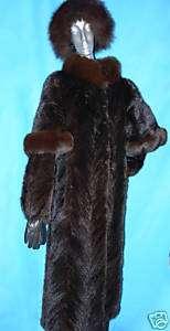 MINK COAT FULL LENGTH MINK W FOX Trim Size Small