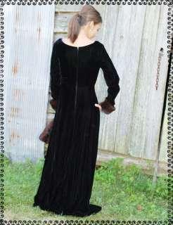 Vtg 70s Black Velvet Fur Cuff Maxi Evening Party Dress