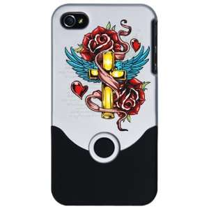 Slider Case Silver Roses Cross Hearts And Angel Wings