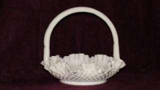 Fenton White Milk Glass Hobnail Basket Handled and Crimped