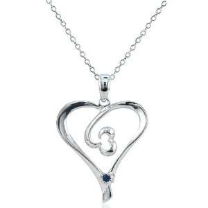 Open Heart Pendant in Sterling Silver on an 18 Necklace Jewelry