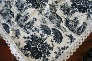 French Country Farm Toile Fabric Table Cloth 110cm Blue