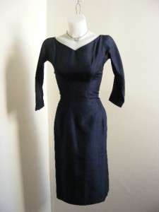 vtg 50s SUZY PERETTE Navy Blue SILK SHANTUNG Wiggle Hourglass Party