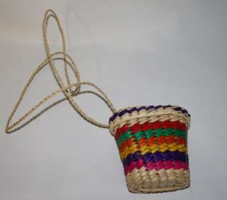 Handmade Mexican Coin Purse Art Craft Palm Made