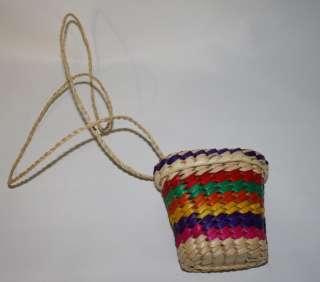 Handmade Mexican Coin Purse Art Craft Palm Made