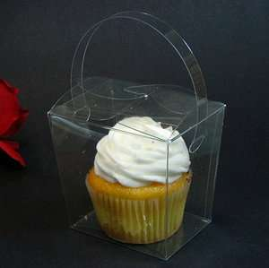 Clear Chinese Take Out Cupcake Wedding Favor Boxes   Lot of 12