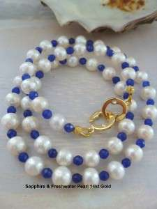 Sapphire Gemstone & White Freshwater Pearl Necklace 14kt GOLD