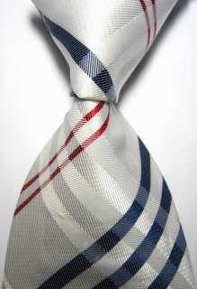 & Checks White Red Blue JACQUARD WOVEN Silk Mens Tie Necktie
