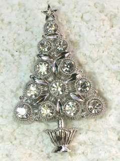 CLEAR RHINESTONE CRYSTAL CHRISTMAS TREE PIN BROOCH Q278