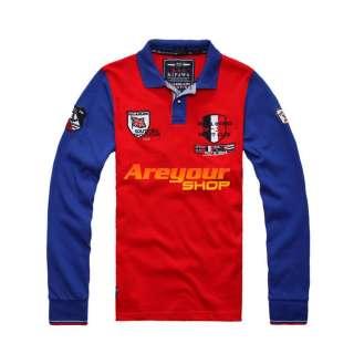 Bruce Shark Mens Long Button Neck T Shirt Sz:M XXL Blue White Red