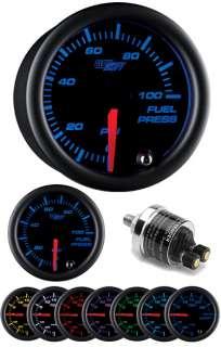 Black 7 100 PSI Fuel Pressure Gauge w. Pressure Sender