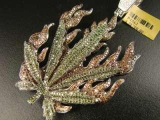 MENS MARIJUANA GREEN LEAF DIAMOND CHARM PENDANT 8.95 CT
