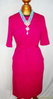 Vintage 60s Hot Pink Dress & Coat Set LG Wool PRISTINE