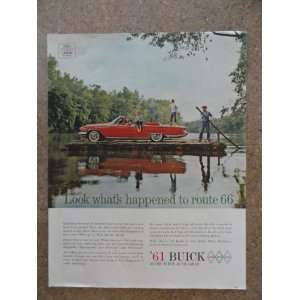 1961 Buick, Vintage 60s full page print ad. (red car on raft