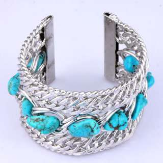 map howlite blue turquoise bead Tibet style wide adjustable fashion