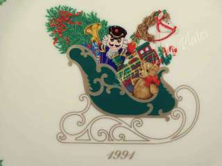 Lenox 1st Annual Holiday Christmas Plate 1991 Sleigh Bx