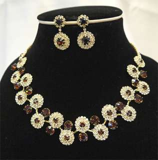 Bridesmaids Golden Diamante Crystal Necklace Earrings Set Prom
