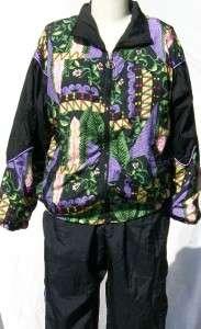 RAFAEL 2pc Track/Jogging Suit Jacket & Pants Nylon Blk/Purple Lined