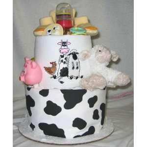 2 Tier Barnyard Baby Diaper Cake Baby