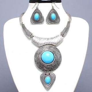 jewelry blue NECKLACE set circle pendant fashion big stone earing