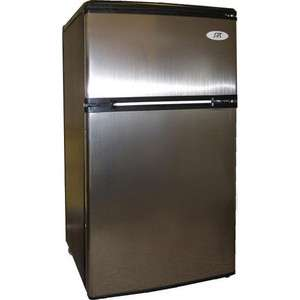 Steel Double Door Refrigerator & Freezer, Mini Dorm Fridge w/ Ice Tray
