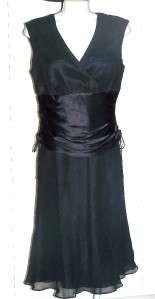NEW DONNA RICO Black Ruch Chiffon Cocktail Dress Sz 10