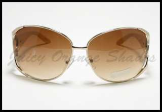 ROUND Oversized Fashion Womens DESIGNER Sunglasses GOLD BEIGE