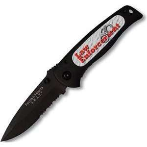 Serrated with Insert Knife, Black with Law Enforcement Insert Design