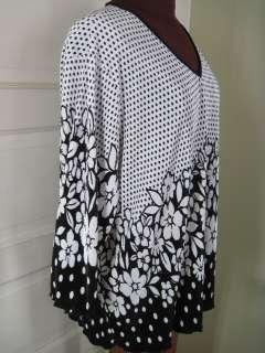 MAGGIE BARNES Black White Dots Flowers Crinkle Pleat Shirt 2X