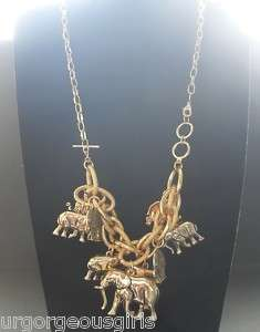 Lucky 9 of Giant Elephant Gold Plated Chain Necklace