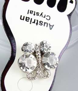 Clear Austrian Crystals BUTTERFLY Invisible PETITE Toe Ring