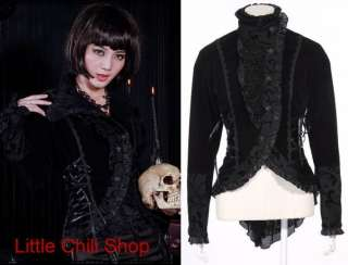 21120 Kera GOTHIC VISUAL KEI BLK PUNK BLACK LACE DOLLY Coat JACKET