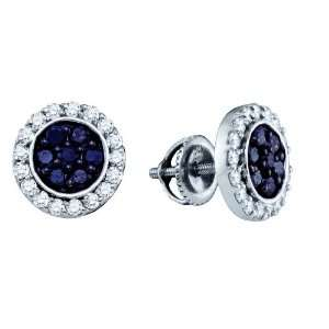 10k White Gold 1.00 Dwt Diamond Micro Pave Set Earrings