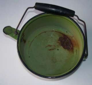 Vintage ENAMELWARE TEA POT KETTLE with WIRE BAIL Olive Green with