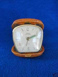 West Germany Linden Black Forest Leather Travel Clock