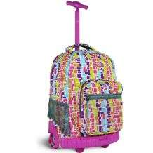 World Sunrise Squares Neon 18 inch Rolling Backpack