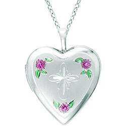 Sterling Silver Cross and Flower Heart Locket Necklace