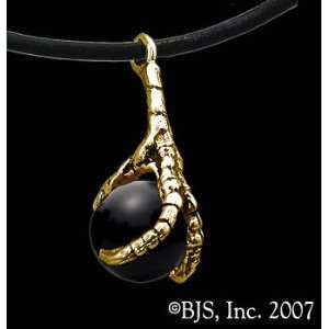 Eagle Claw Necklace with Gem, 14k Yellow Gold, Black Obsidian set