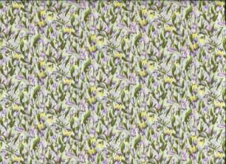 LAV YELLOW FLORAL   Cotton Fabric BTY for Quilting, Crafts, Clothing