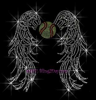 SOFTBALL ANGEL WINGS RHINESTONE IRON ON TRANSFER SPORT