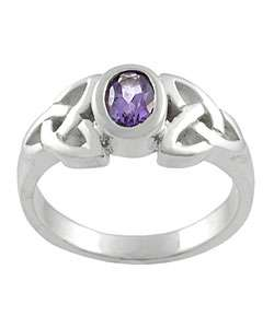 Sterling Silver Celtic Knot Amethyst Fashion Ring