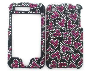 hearts black bling rhinestone faceplate diamond crystal hard skin case